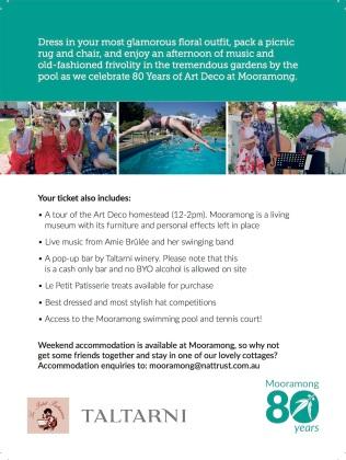 Mooramong Pool Party postcard 2018 back